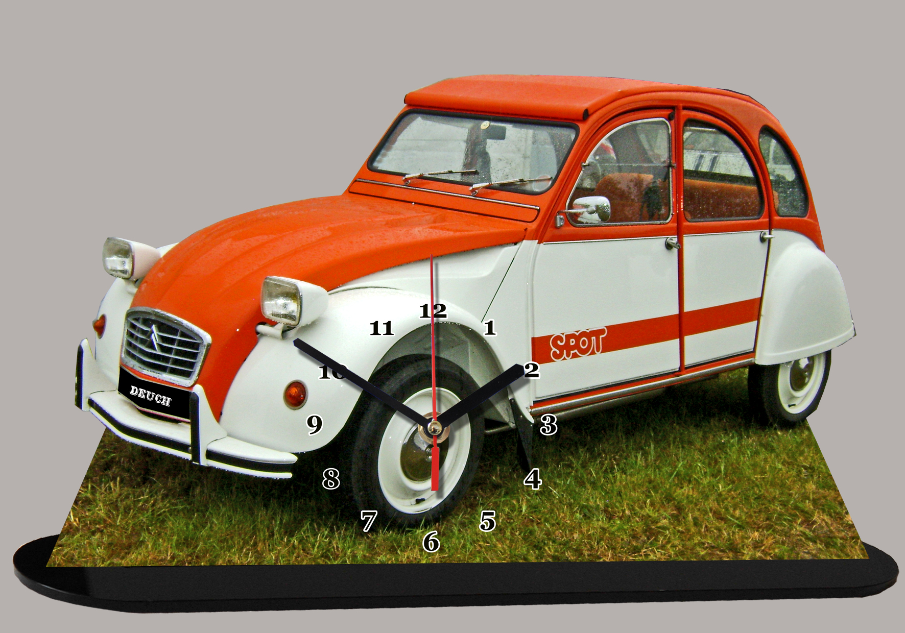 citroen 2cv red bull en miniature horloge