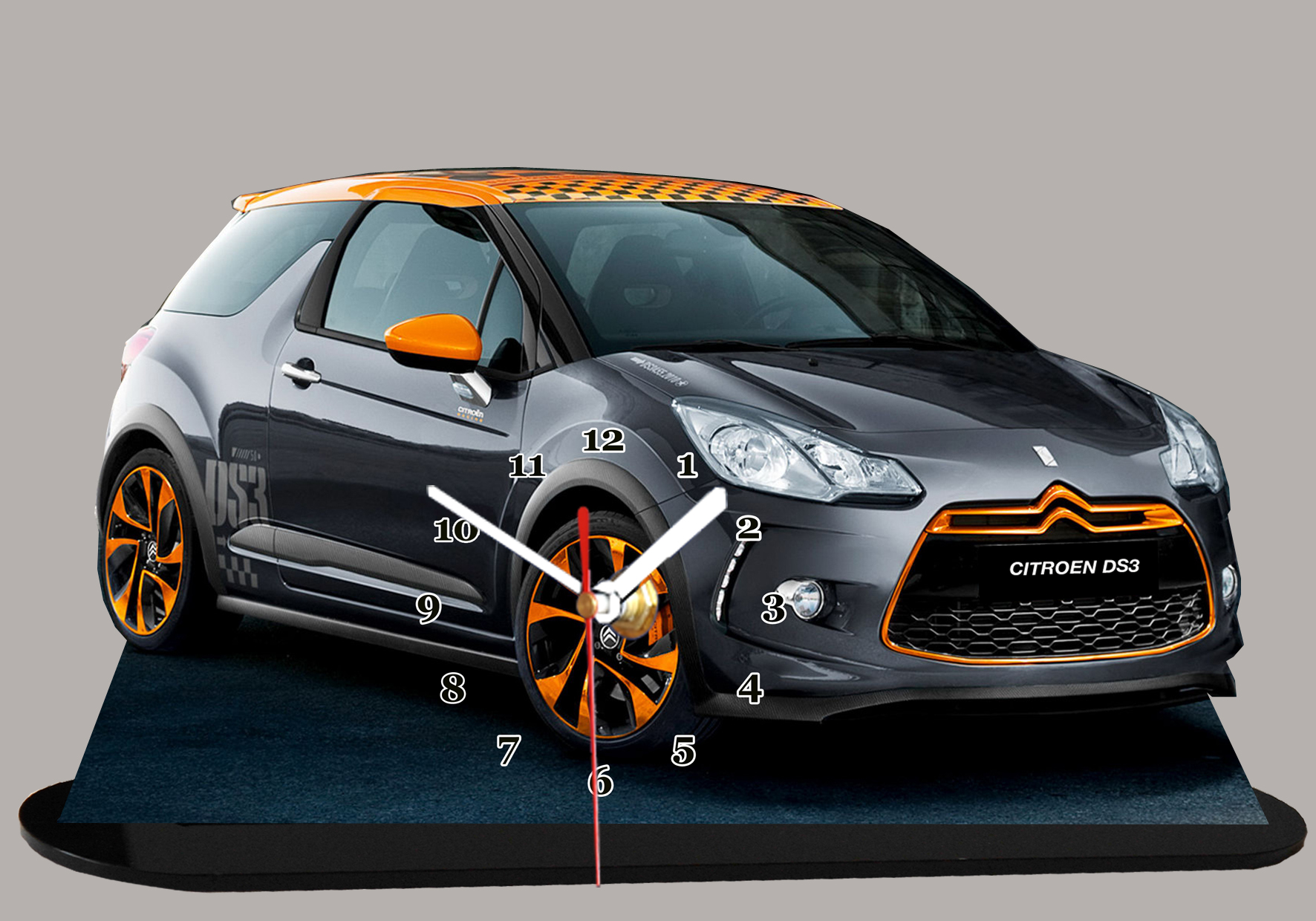 la citroen ds 3 noire et orange en miniature auto horloge. Black Bedroom Furniture Sets. Home Design Ideas