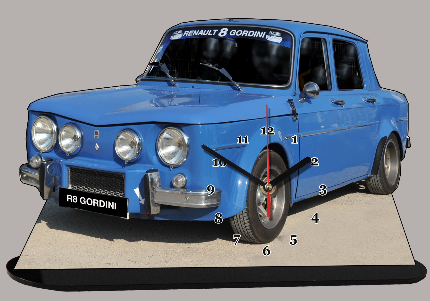 renault 8 gordini en miniature auto horloge. Black Bedroom Furniture Sets. Home Design Ideas