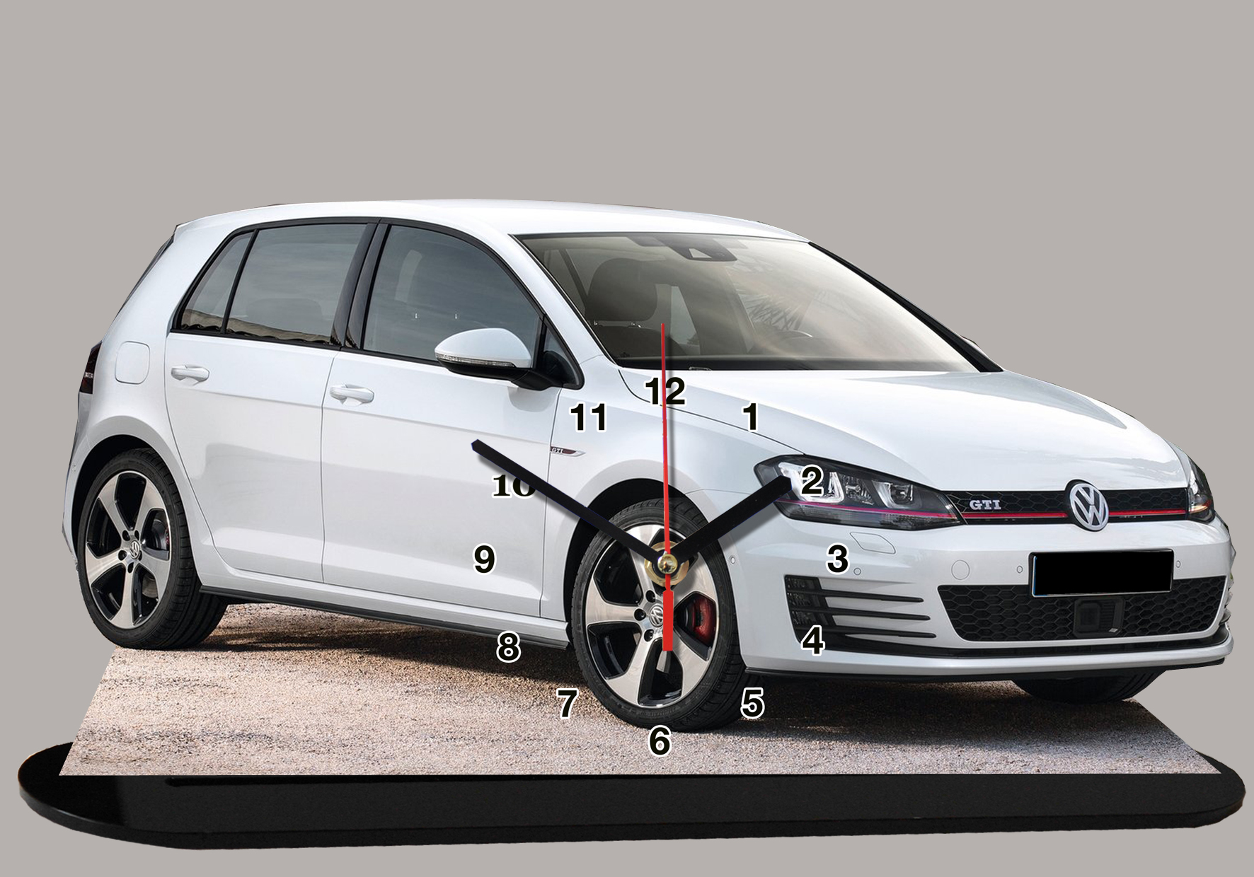 volkswagen golf gti vi blanche en auto horloge miniature. Black Bedroom Furniture Sets. Home Design Ideas