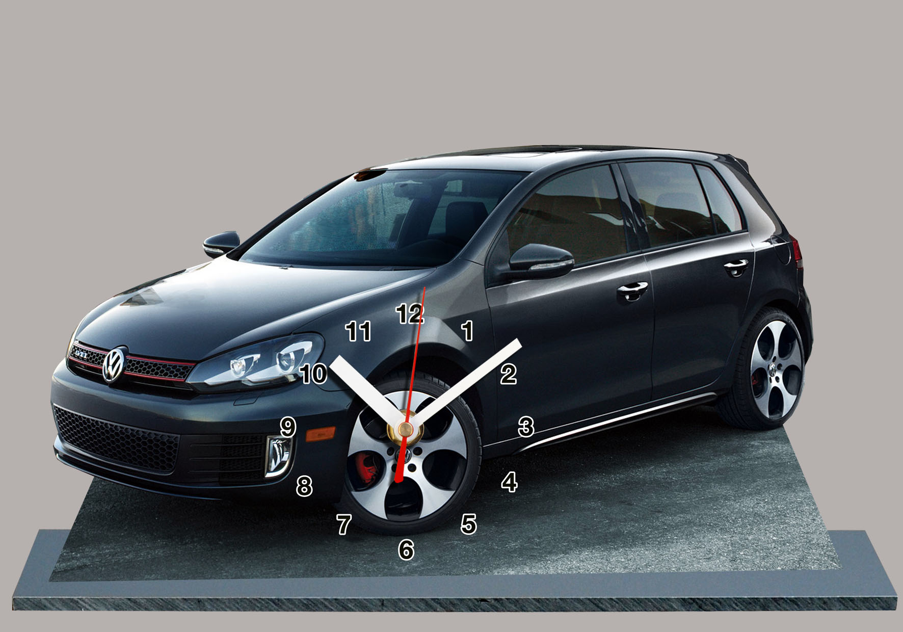 volkswagen golf gti vi noire en auto horloge miniature. Black Bedroom Furniture Sets. Home Design Ideas