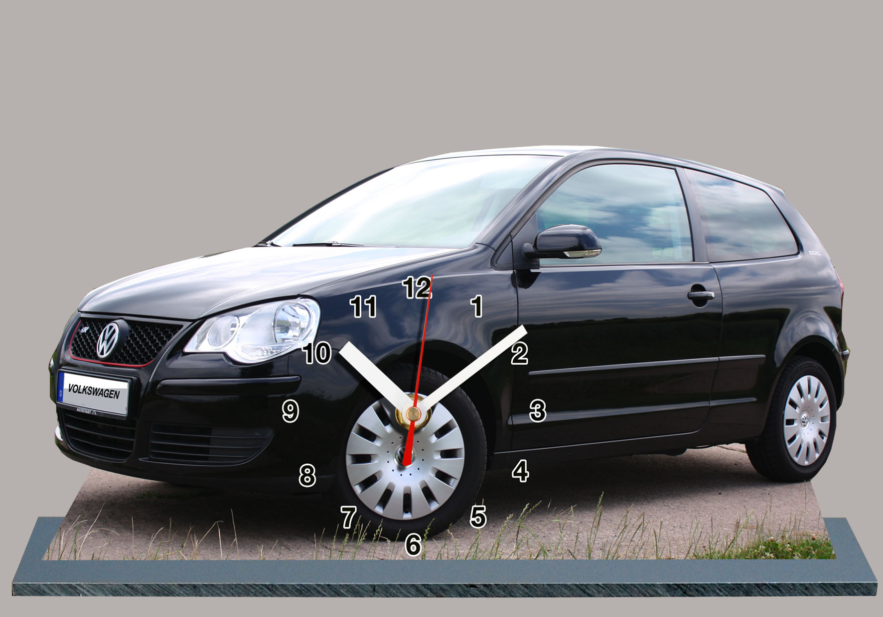 volkswagen polo gti v noir en auto horloge miniature. Black Bedroom Furniture Sets. Home Design Ideas