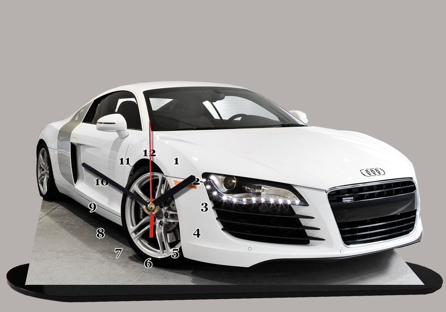 audi r8 blanche 08 en auto horloge miniature. Black Bedroom Furniture Sets. Home Design Ideas
