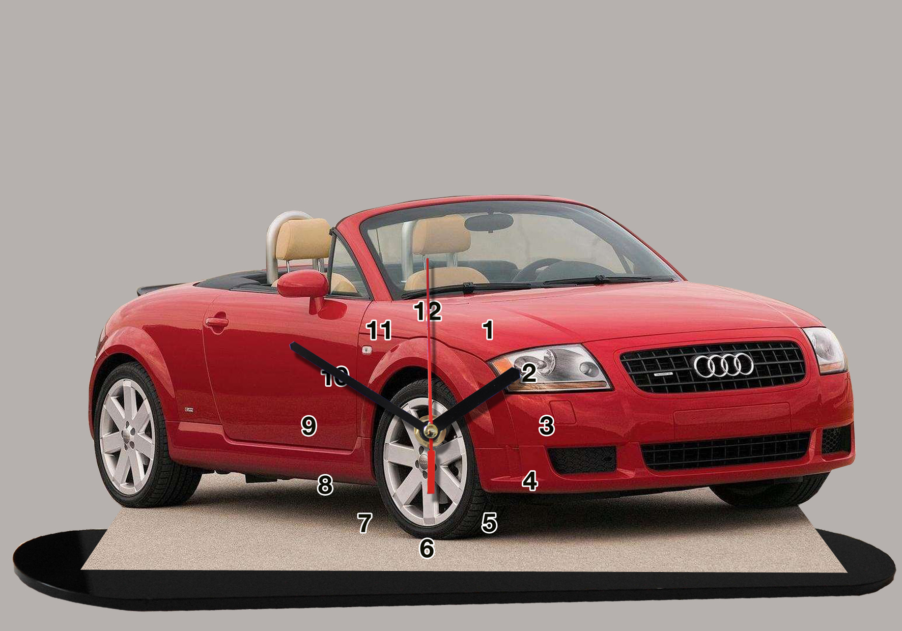 audi tt cabriolet rouge 04 en auto horloge miniature. Black Bedroom Furniture Sets. Home Design Ideas