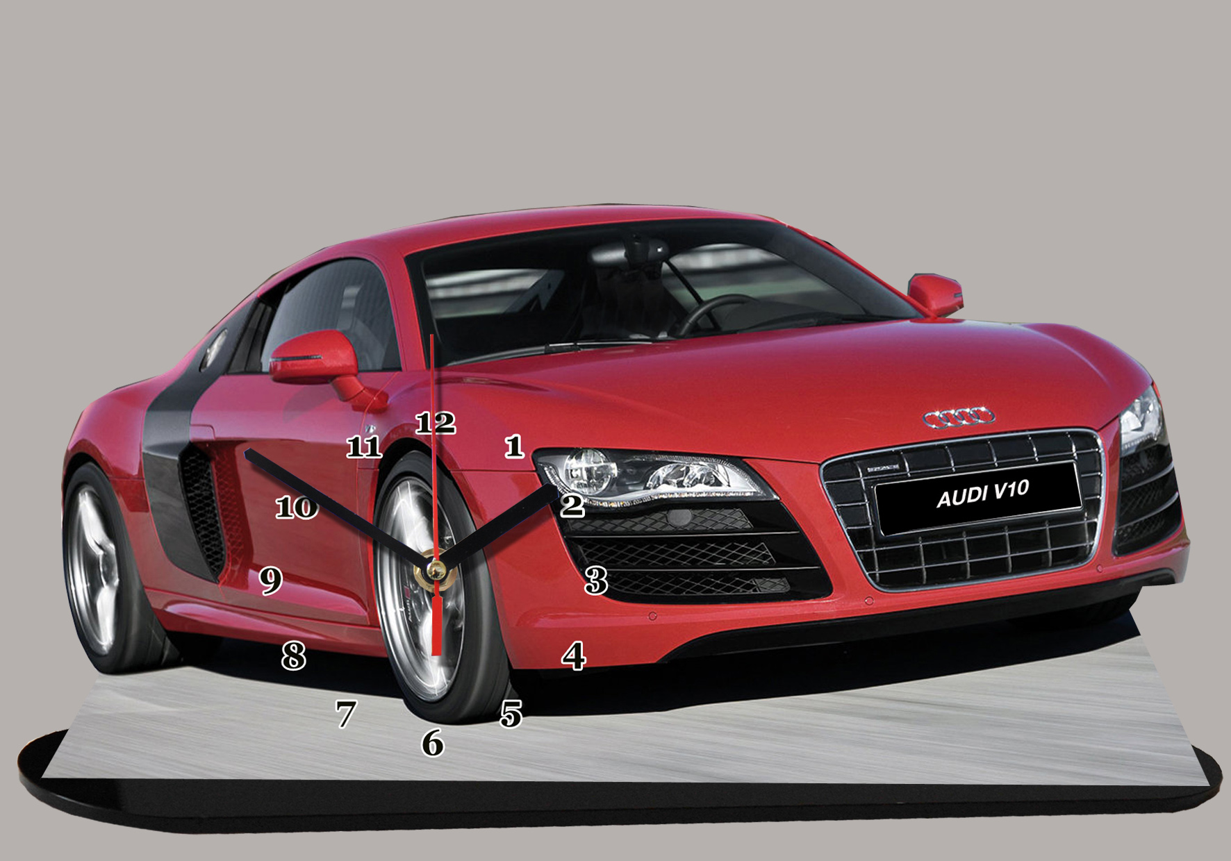 audi r8 rouge en auto horloge miniature. Black Bedroom Furniture Sets. Home Design Ideas