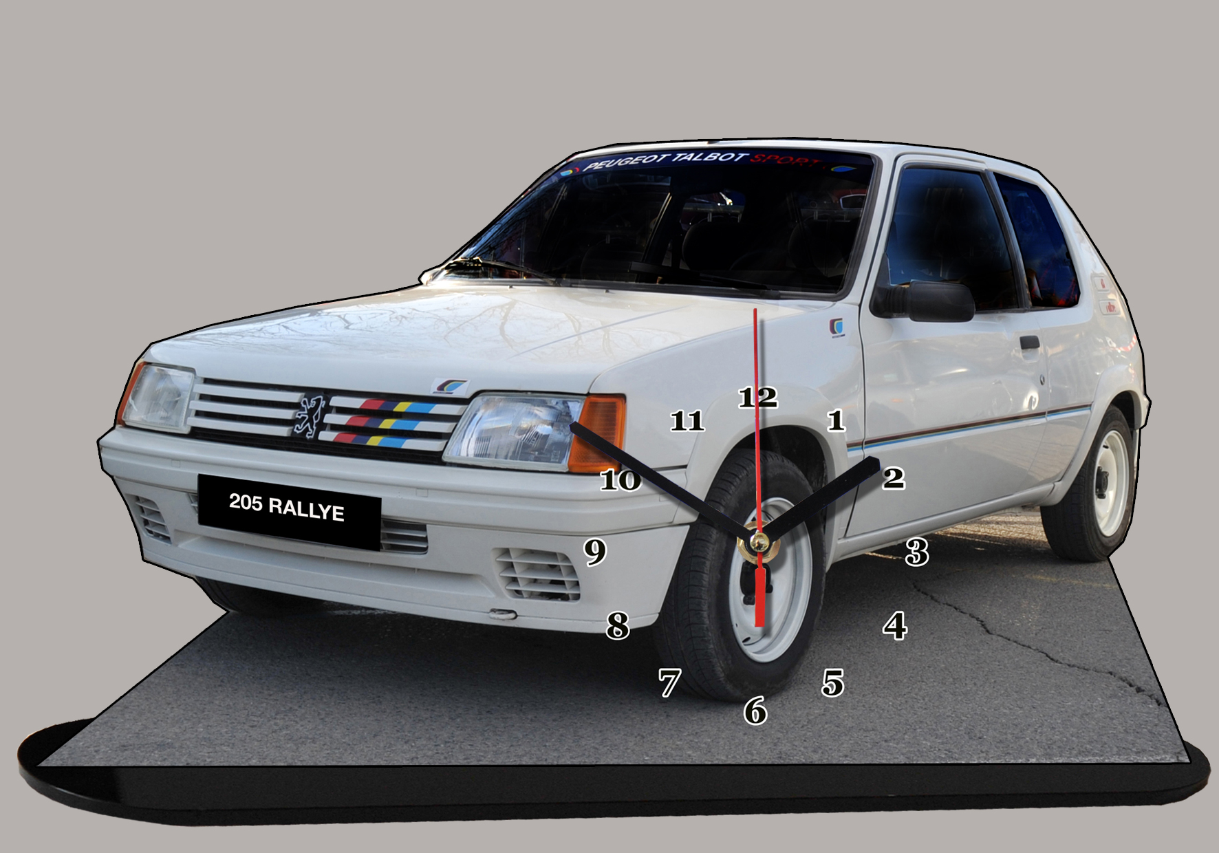 peugeot 205 rallye blanche en miniature auto horloge. Black Bedroom Furniture Sets. Home Design Ideas