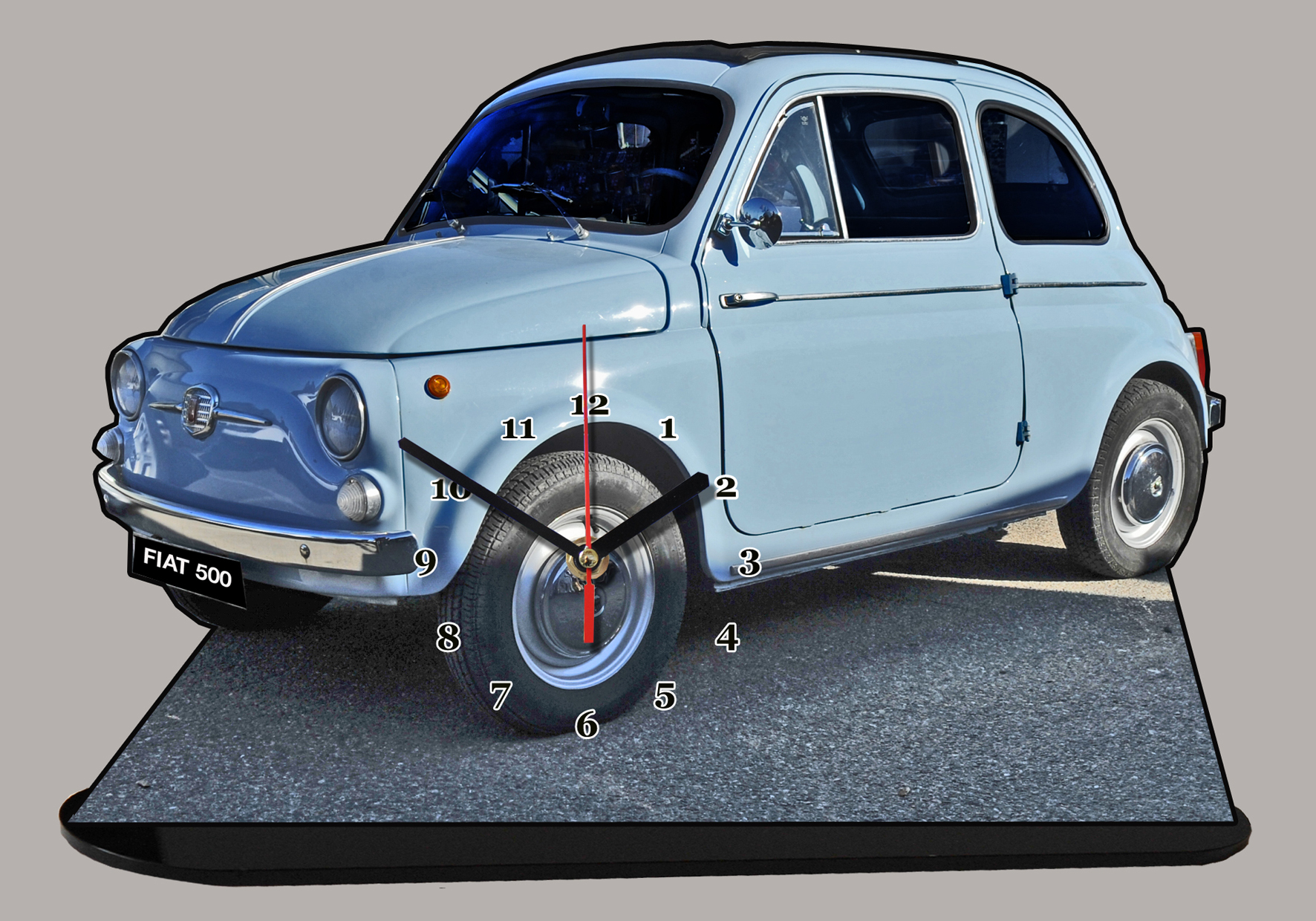 fiat 500 topolino bleue ciel 02 en miniature auto horloge. Black Bedroom Furniture Sets. Home Design Ideas