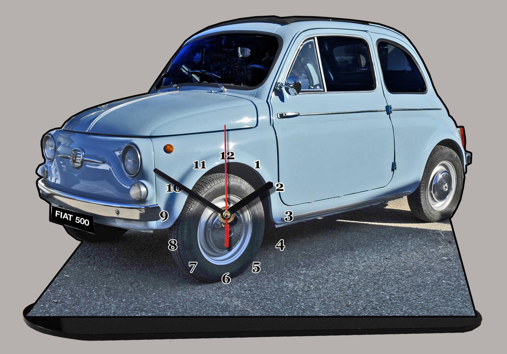fiat 500 topolino bleue ciel 02 en miniature auto horloge. Black Bedroom Furniture Sets. Home Design Ideas