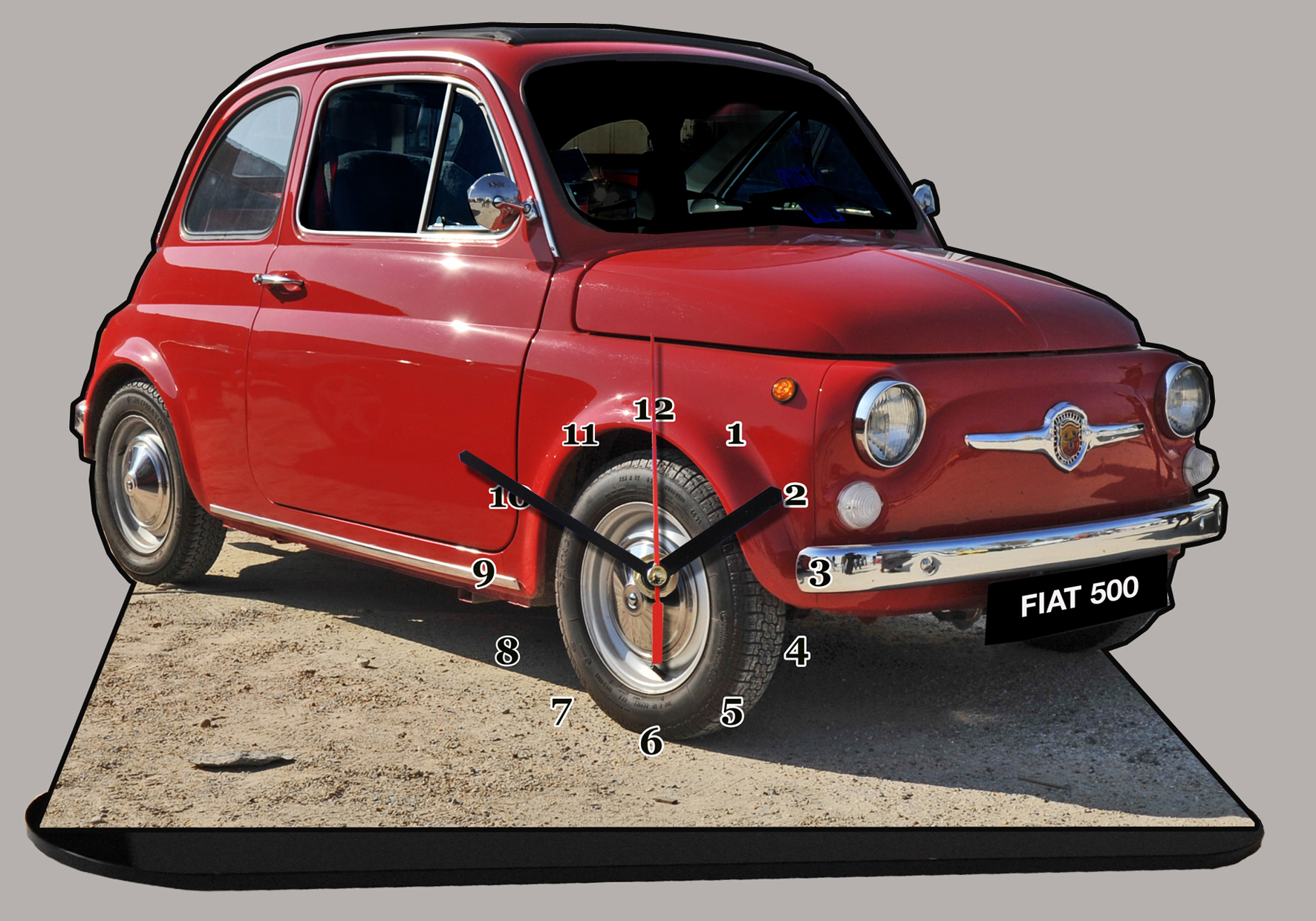 fiat 500 rouge 04 en miniature auto horloge. Black Bedroom Furniture Sets. Home Design Ideas