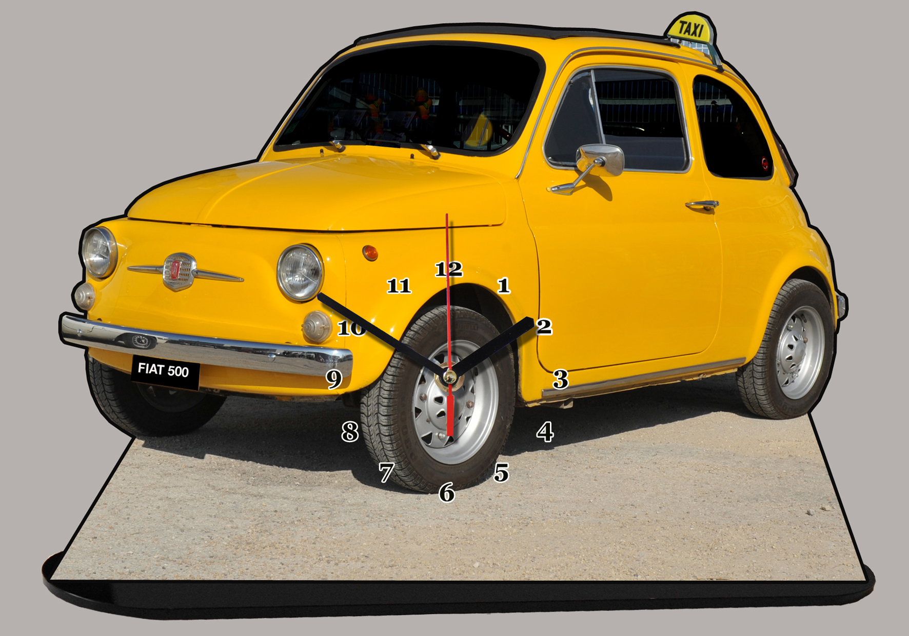 fiat 500 jaune taxi 05 en miniature auto horloge. Black Bedroom Furniture Sets. Home Design Ideas