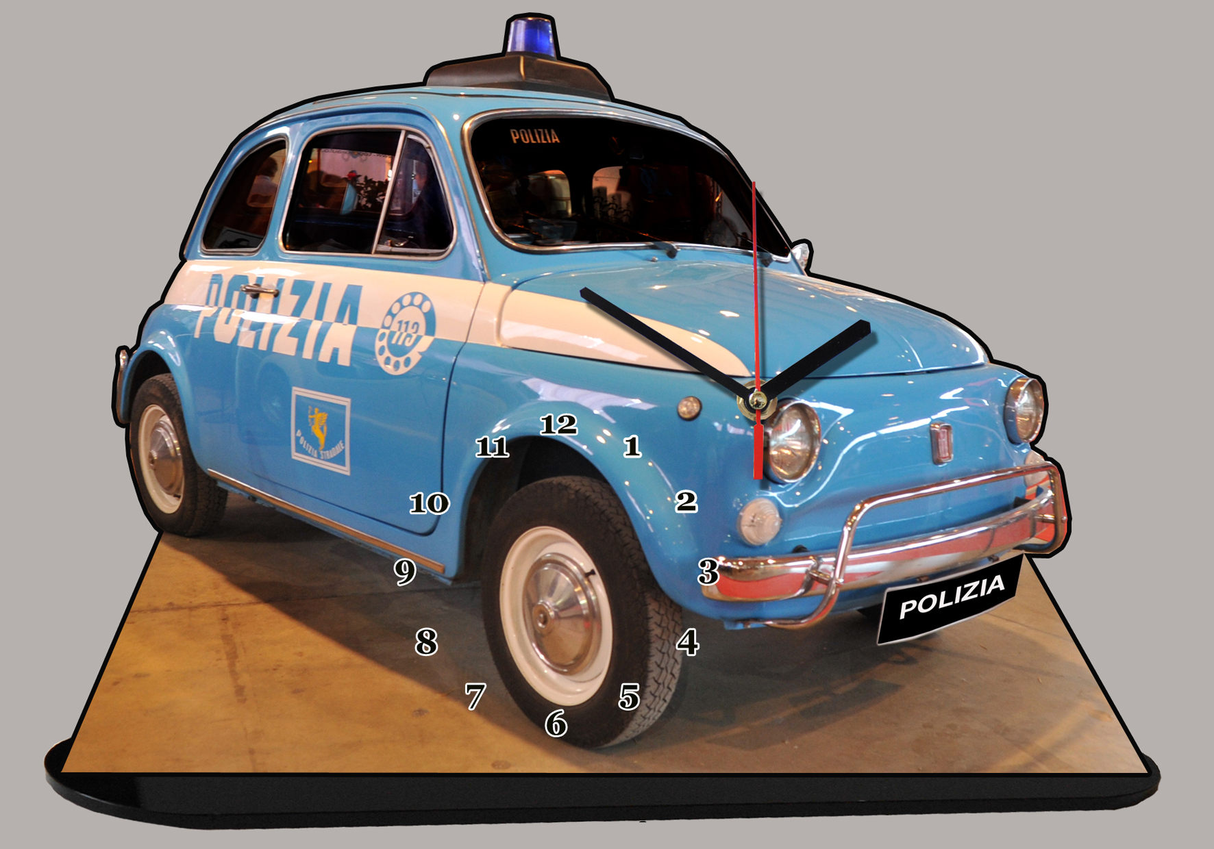 fiat 500 polizia 09 miniature auto horloge. Black Bedroom Furniture Sets. Home Design Ideas