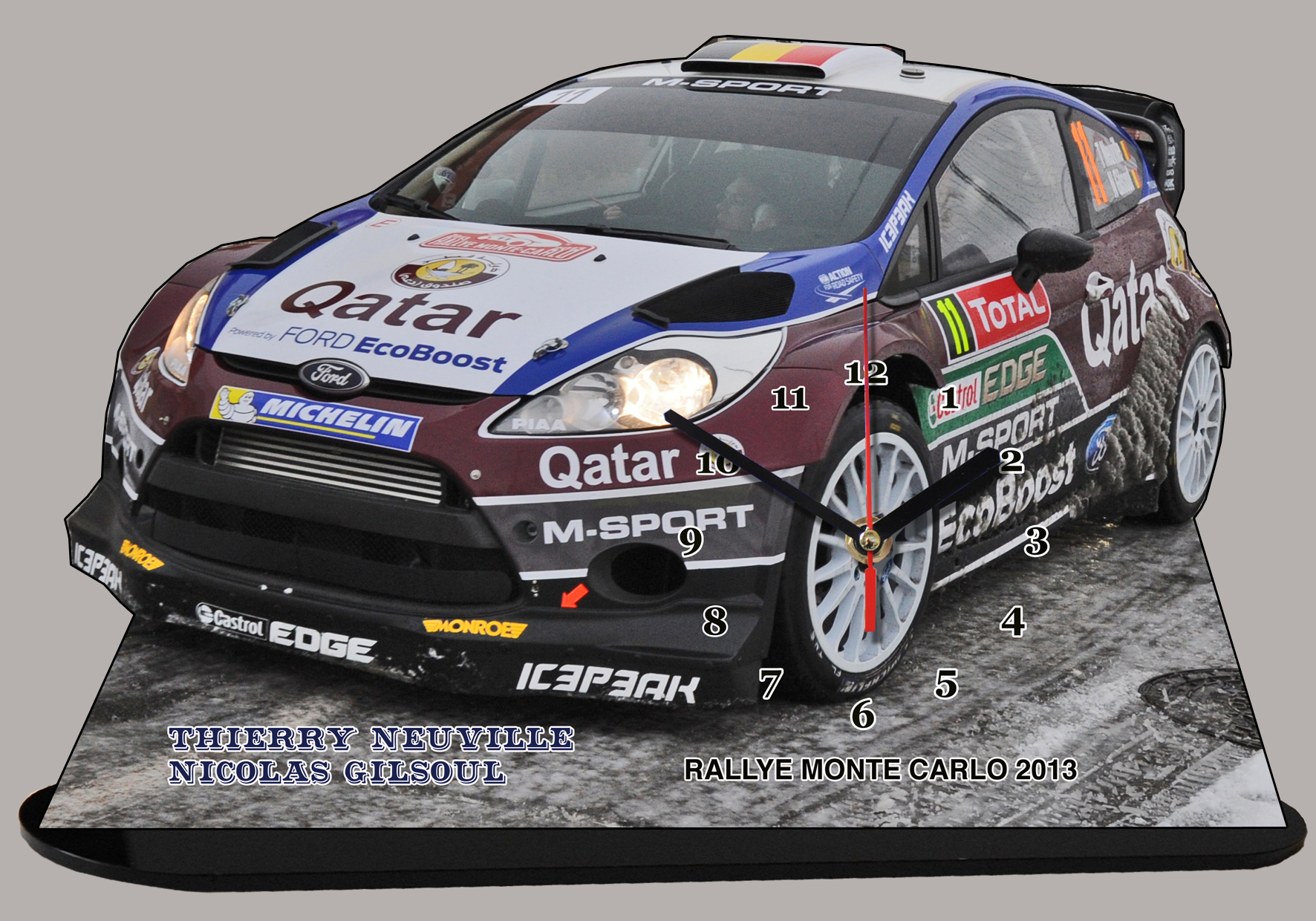 ford fiesta neuville wrc auto horloge miniature. Black Bedroom Furniture Sets. Home Design Ideas