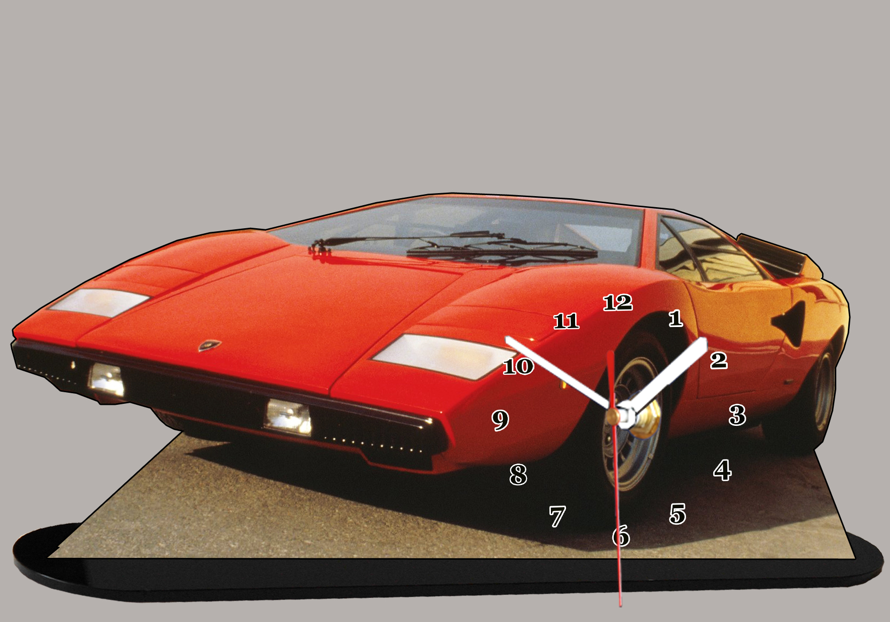 lamborghini countach rouge miniature auto horloge. Black Bedroom Furniture Sets. Home Design Ideas