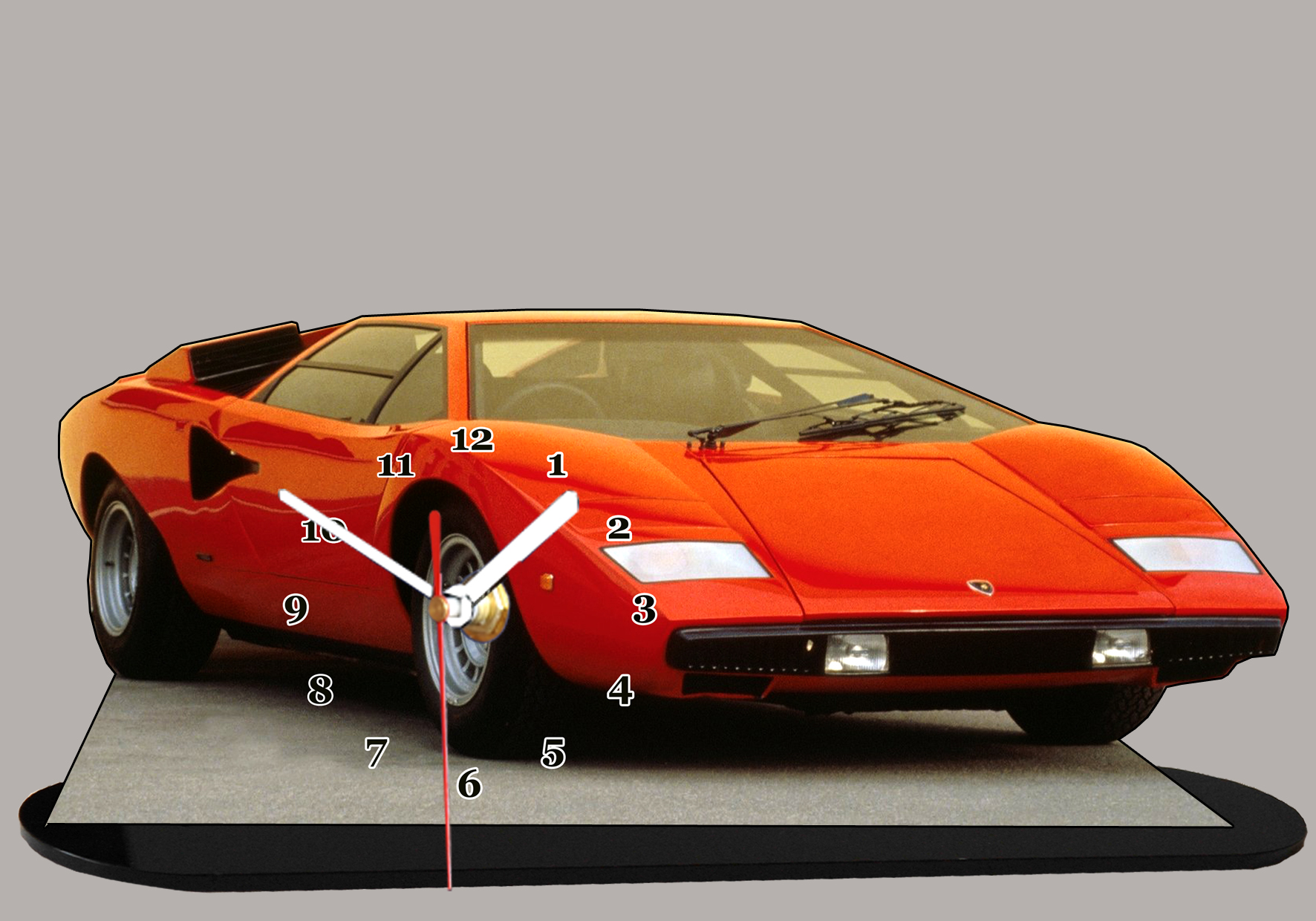 lamborghini countach rouge 03 miniature auto horloge. Black Bedroom Furniture Sets. Home Design Ideas