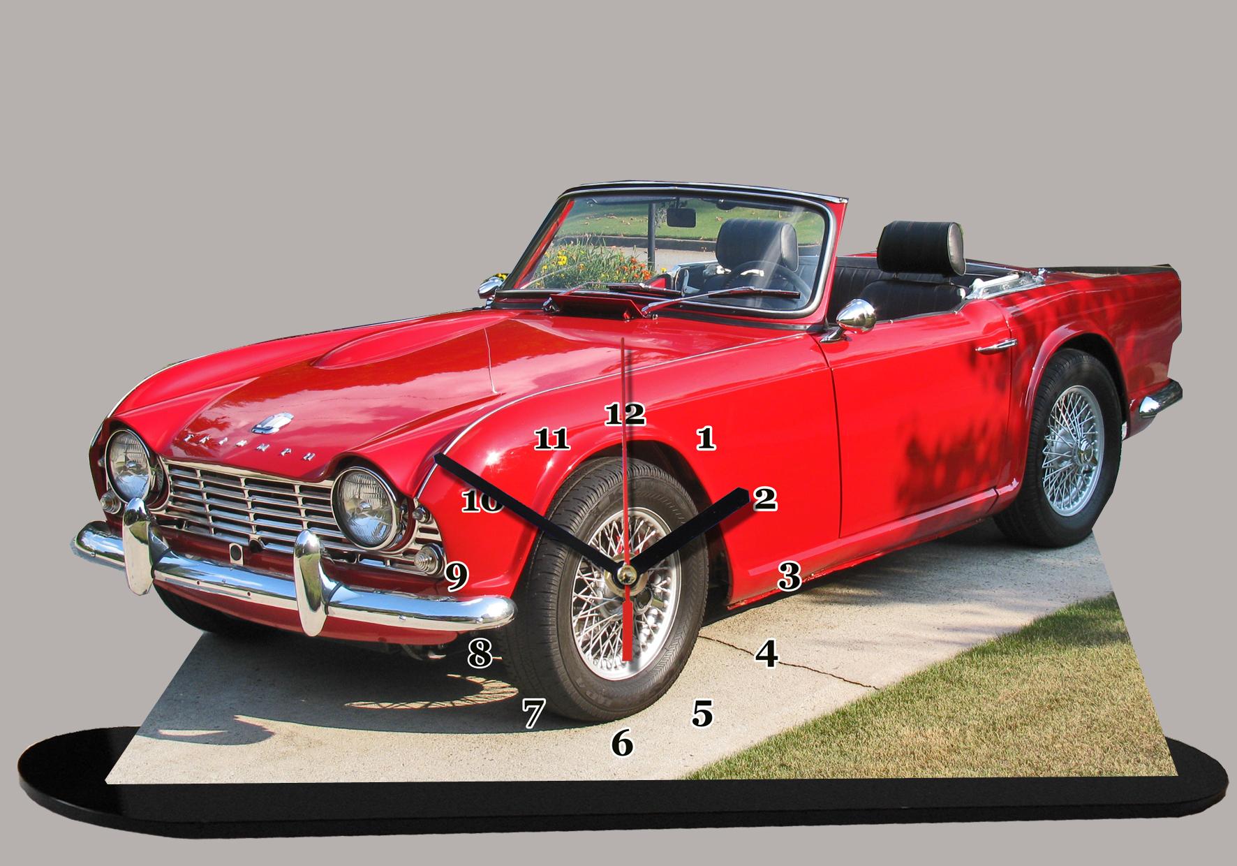 miniature voiture triumph tr 4 rouge v hicule horloge. Black Bedroom Furniture Sets. Home Design Ideas
