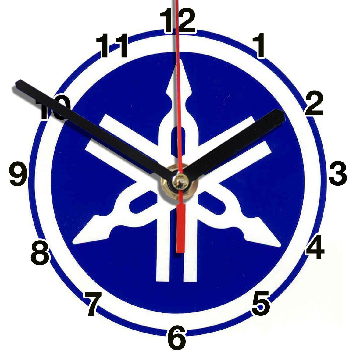 logo moto yamaha bleu en horloge murale. Black Bedroom Furniture Sets. Home Design Ideas