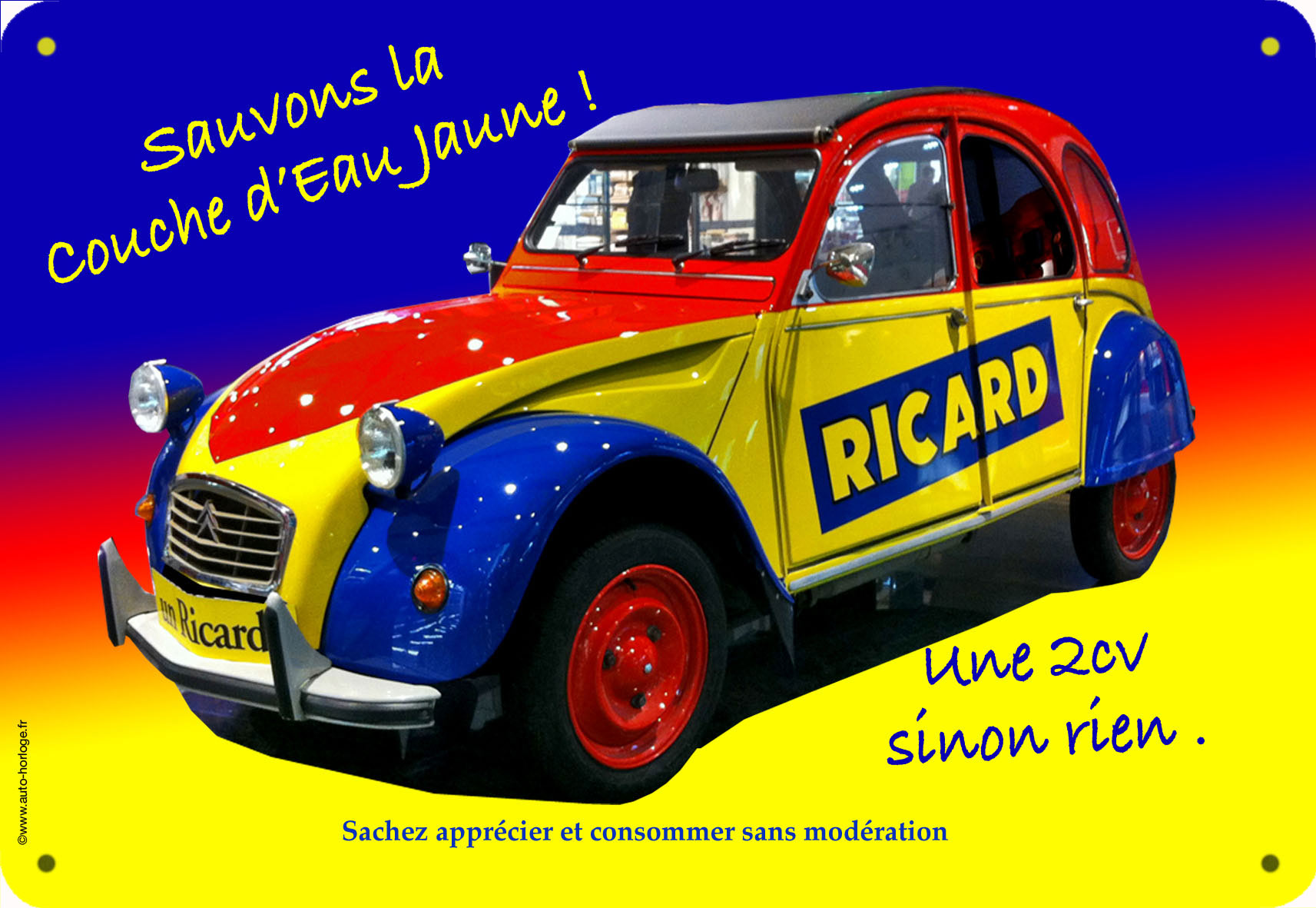 plaque alu ricard 2 cv le cadeau original. Black Bedroom Furniture Sets. Home Design Ideas