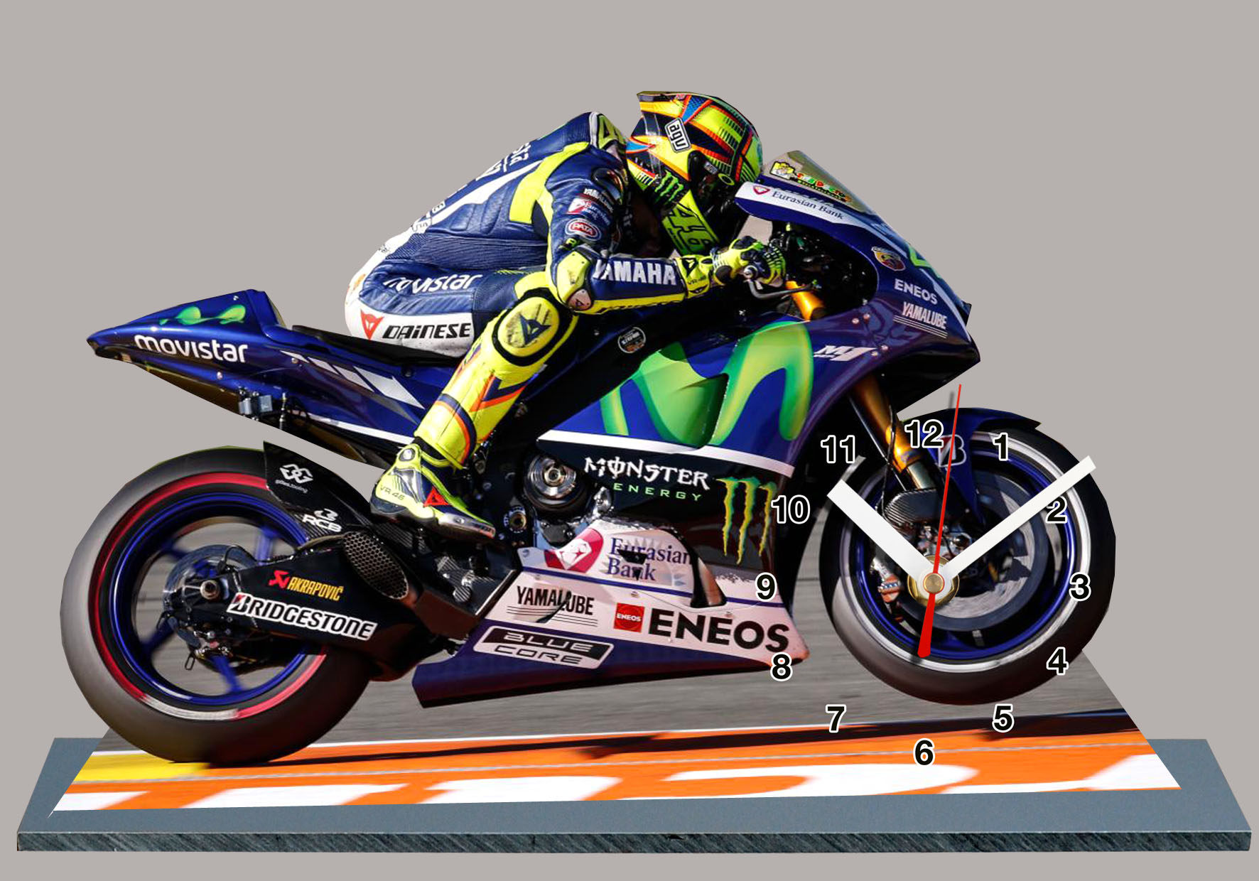 valentino rossi yamaha moto gp 2015 en horloge miniature. Black Bedroom Furniture Sets. Home Design Ideas