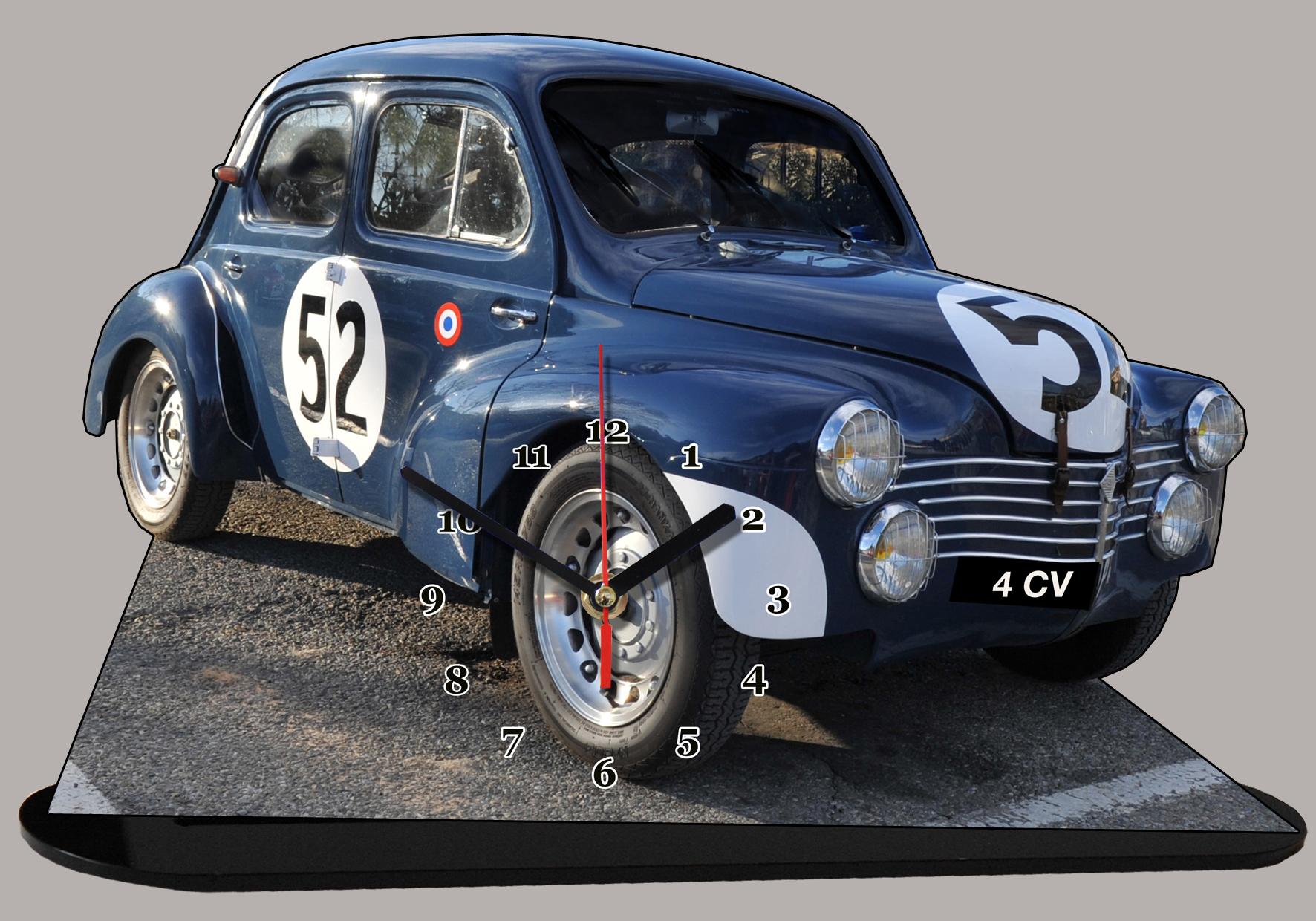 renault 4cv rallye en horloge miniature