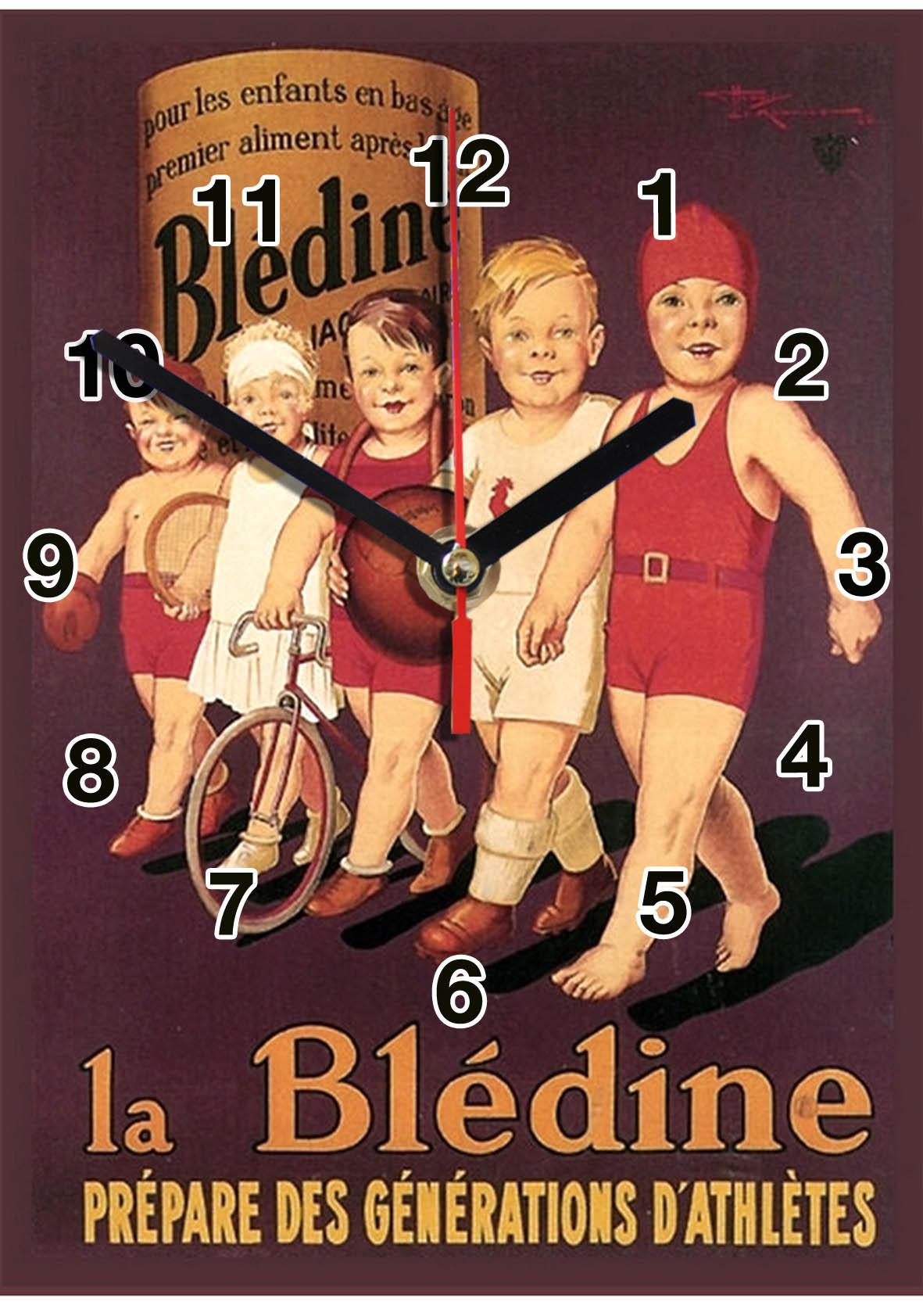 Pub retro Bledine en horloge murale