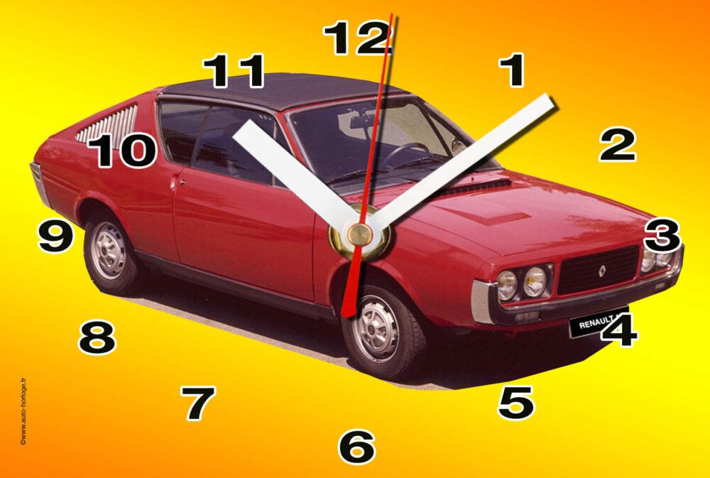Renaullt 17 rouge en horloge murale sur plaque alu