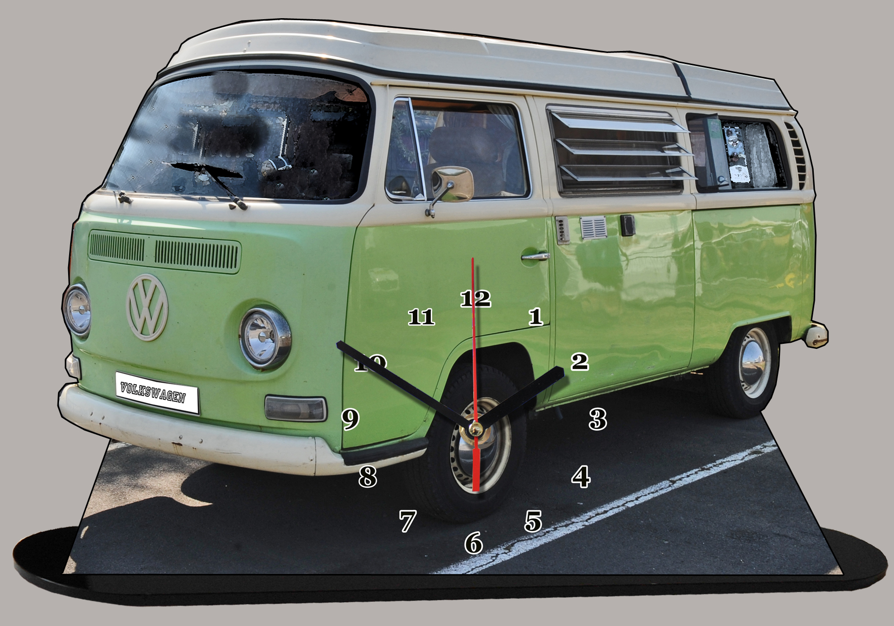 volkswagen vw combi t2 1967 en horloge miniature sur socle. Black Bedroom Furniture Sets. Home Design Ideas