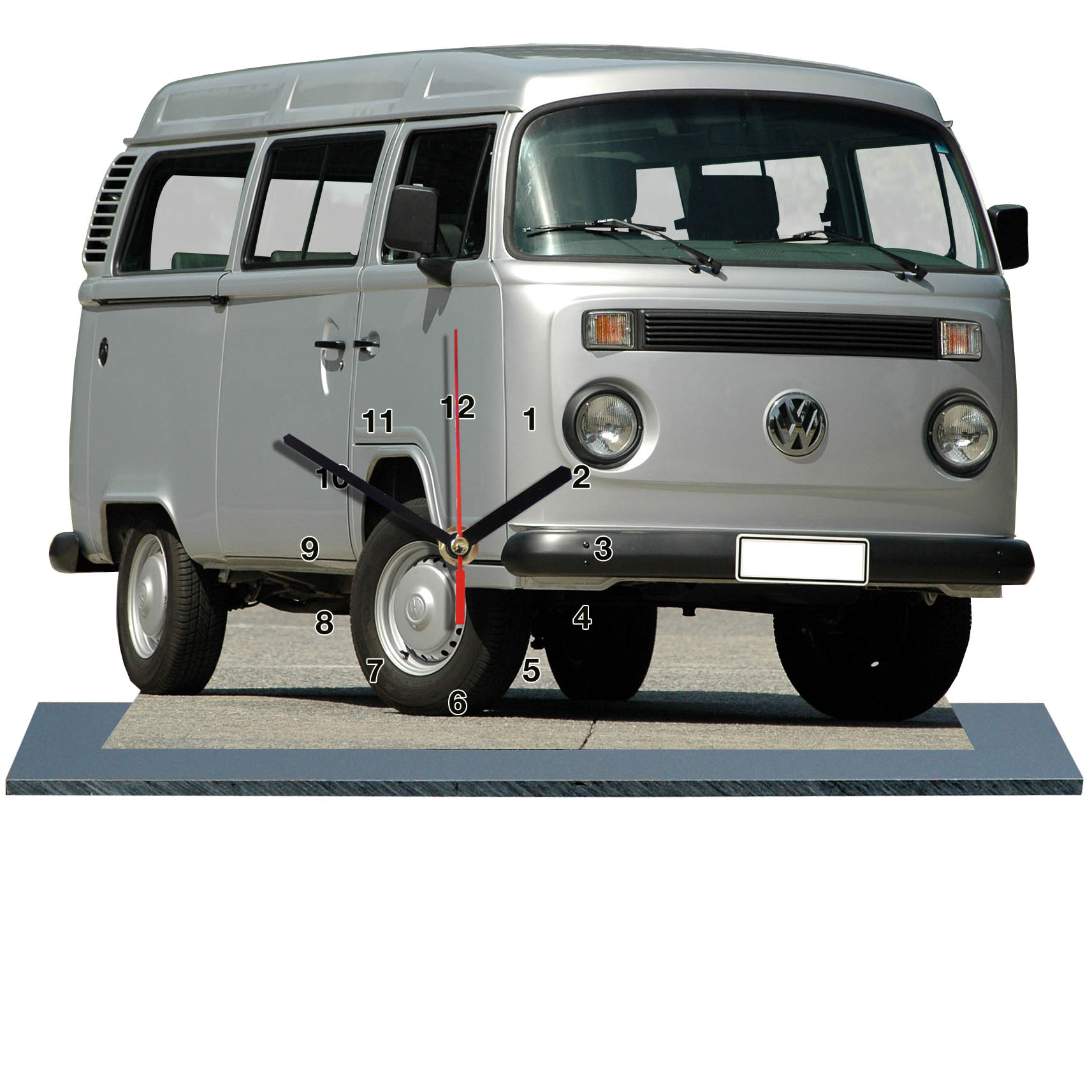volkswagen vw combi gris en horloge miniature sur socle. Black Bedroom Furniture Sets. Home Design Ideas