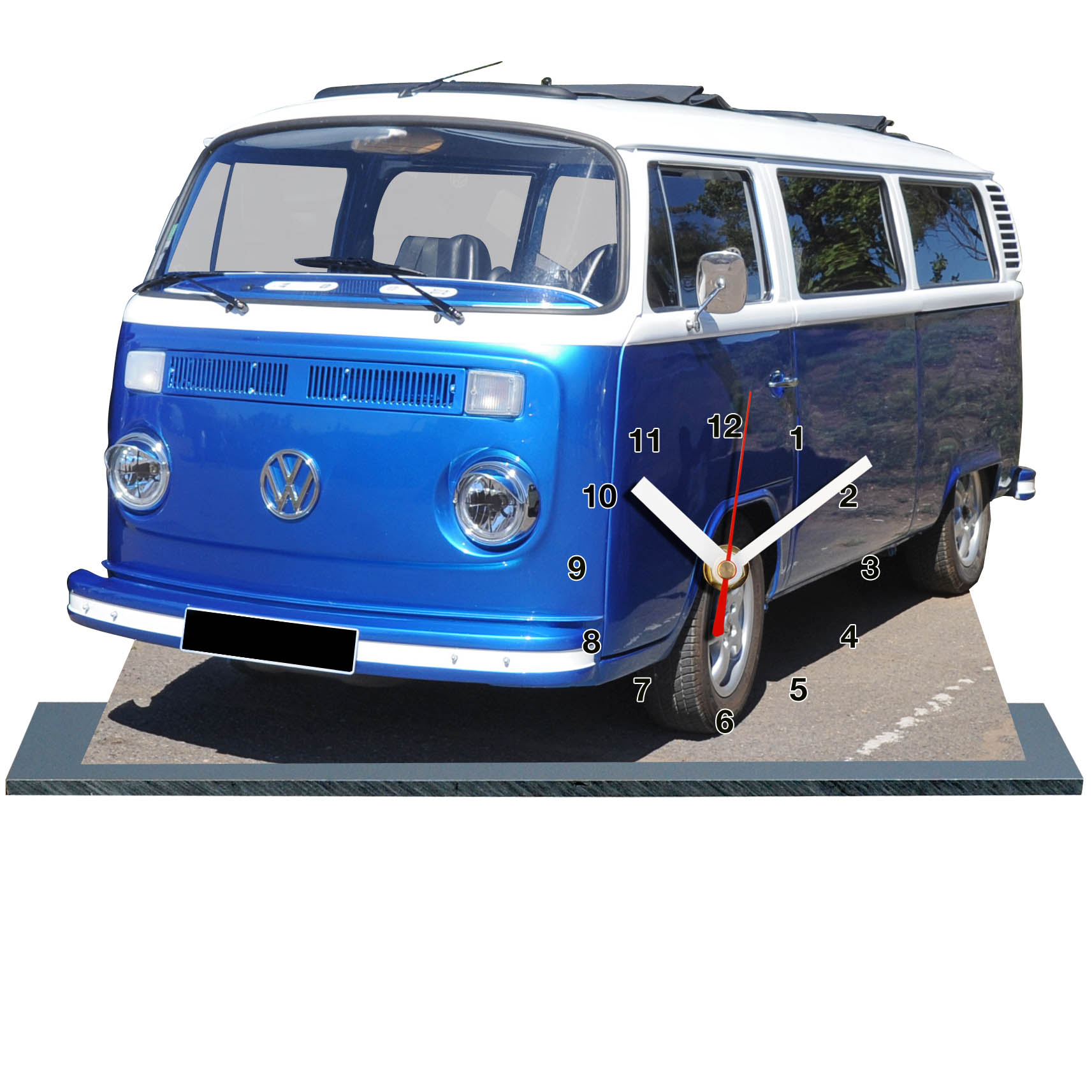 kombi vw t2 en horloge miniature sur socle. Black Bedroom Furniture Sets. Home Design Ideas