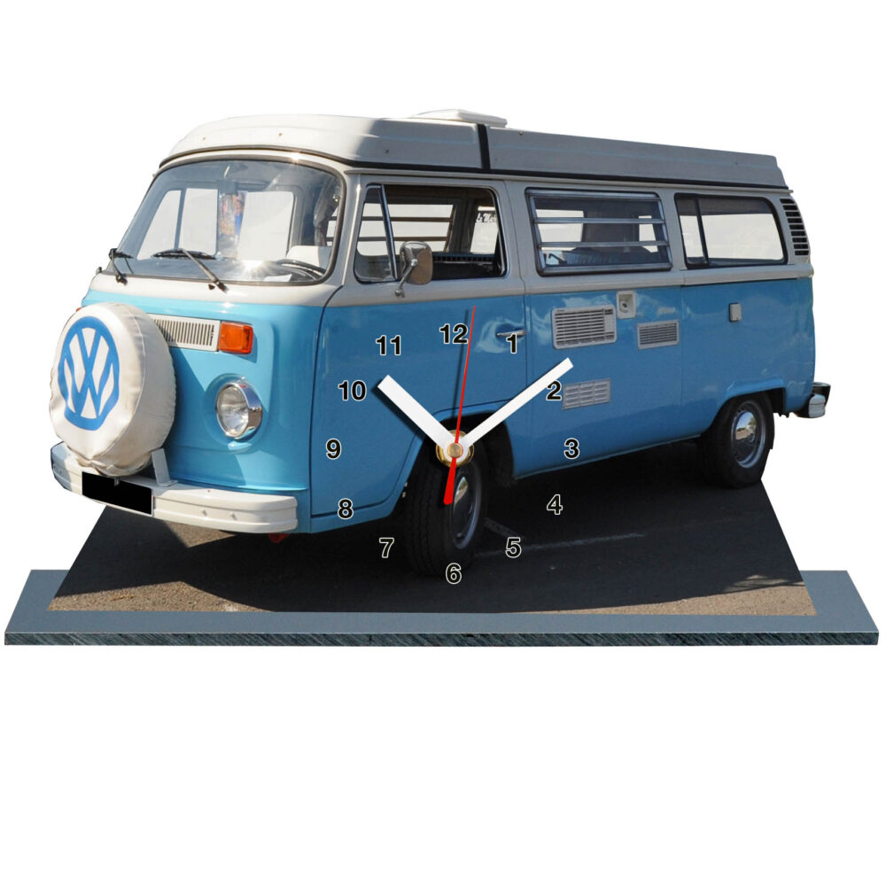 combi VW bleu ciel et blanc en miniature