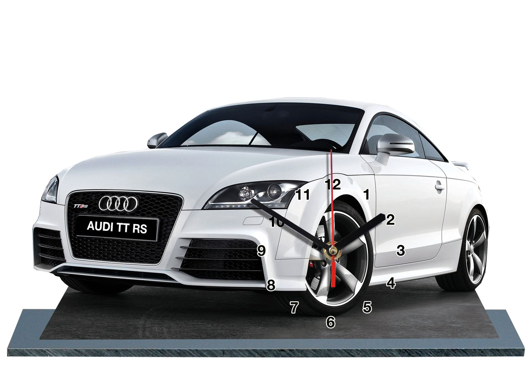 audi tt rs blanche en auto horloge miniature. Black Bedroom Furniture Sets. Home Design Ideas