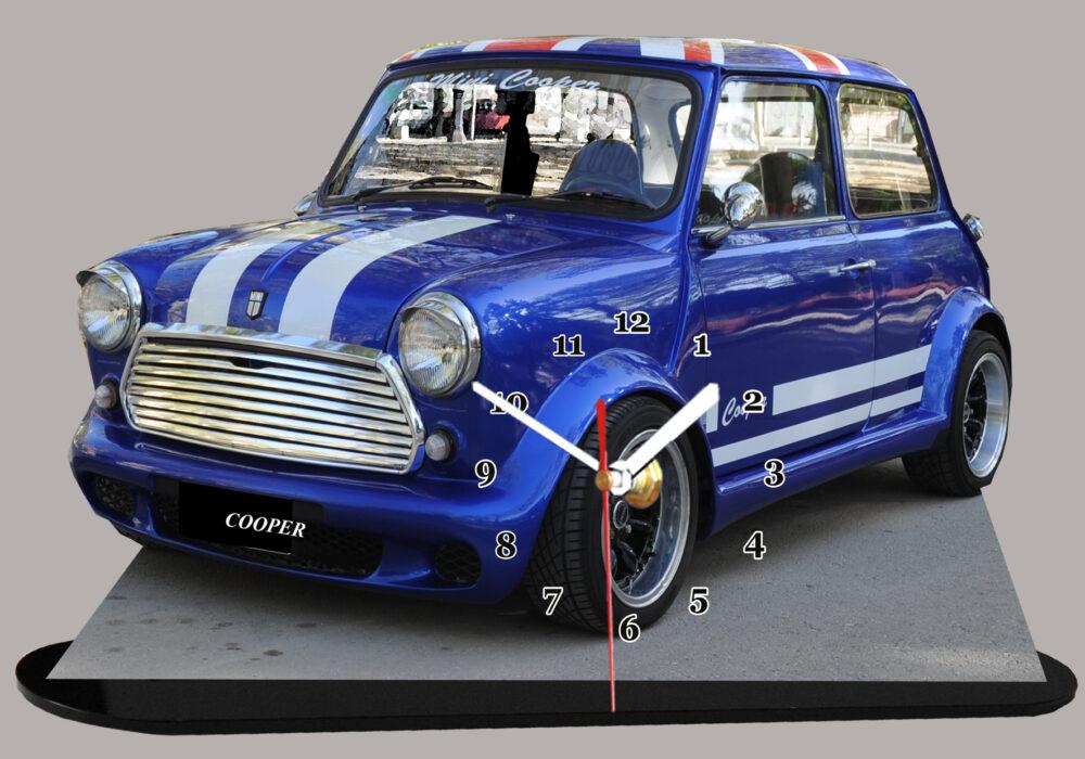 Véhicule Austin mini bleu et bandes blanches en miniature auto horloge 12